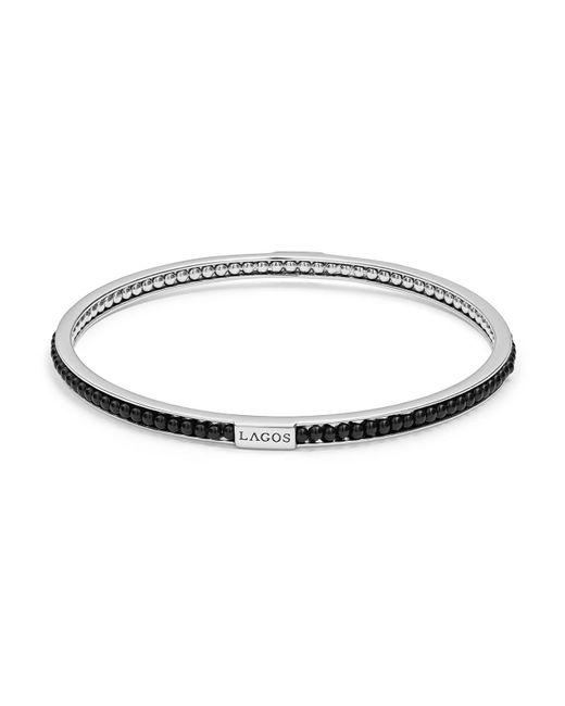 Lagos | Metallic Sterling Silver Caviar Icon Onyx Beaded Bangle Bracelet | Lyst
