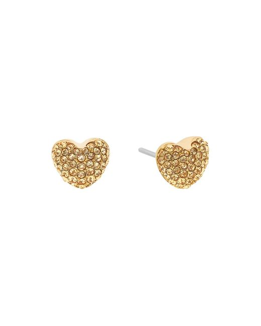 Michael Kors | Metallic Puffy Pavé Heart Stud Earrings | Lyst