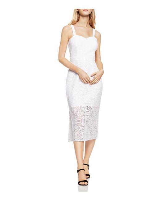 BCBGeneration | White Midi Illusion Lace Sheath Dress | Lyst