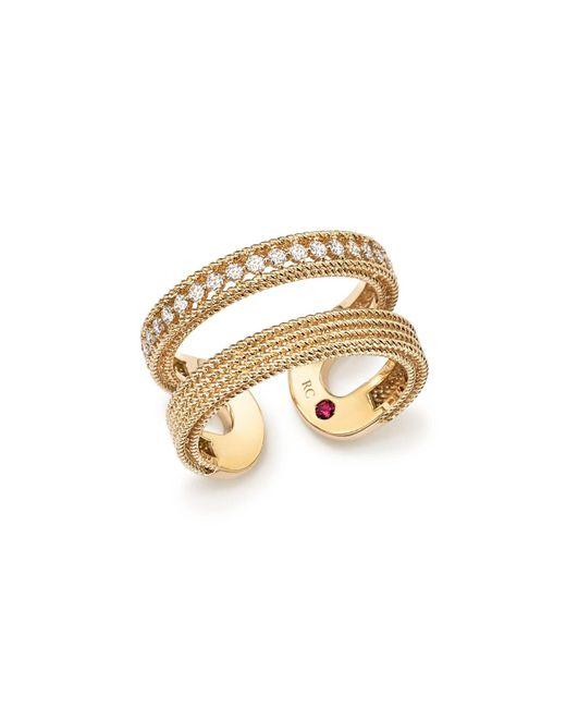 Roberto Coin   Metallic 18k Yellow Gold Symphony Diamond Double Ring   Lyst