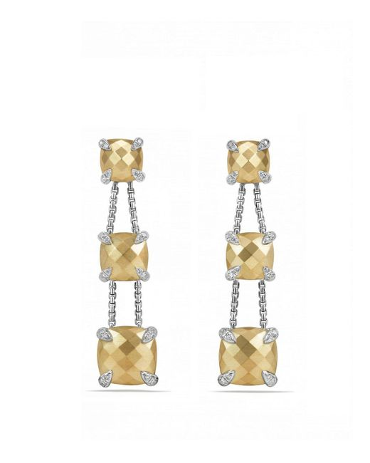 David Yurman | Metallic Châtelaine Linear Chain Earrings With 18k Gold And Diamonds | Lyst