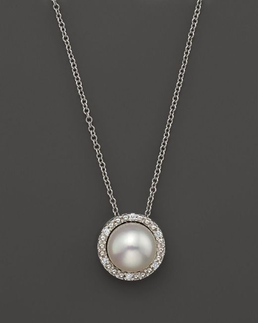 """Bloomingdale's - Cultured Freshwater Pearl And Diamond Pendant Necklace In 18k White Gold, 17"""" - Lyst"""