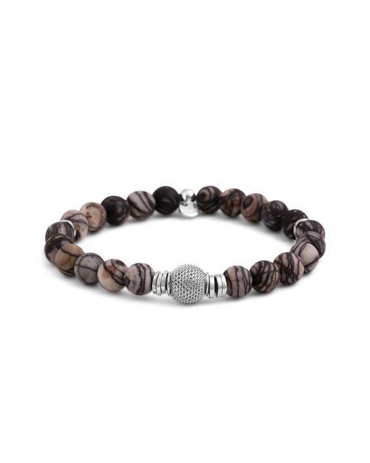Tateossian | Brown Rhodium Mesh Bead Bracelet | Lyst