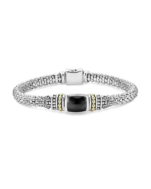 Lagos | Metallic 18k Gold And Sterling Silver Caviar Color Bracelet With Black Onyx | Lyst