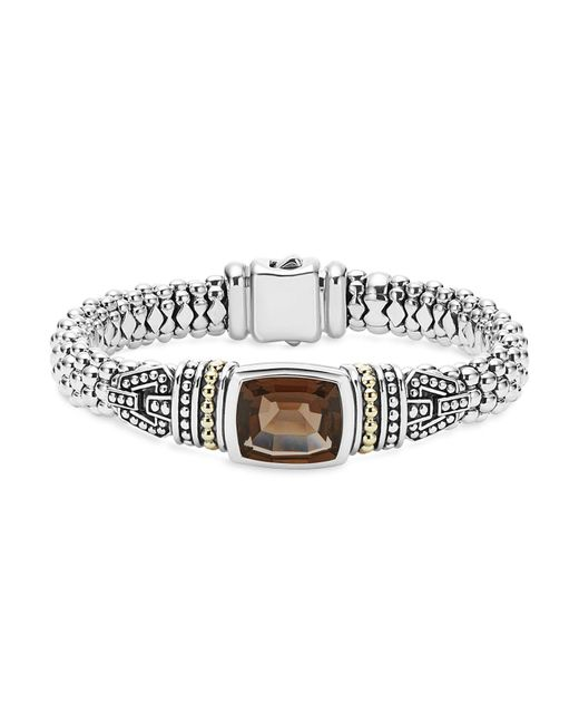 Lagos   Metallic 18k Gold And Sterling Silver Caviar Color Bracelet With Smoky Quartz   Lyst