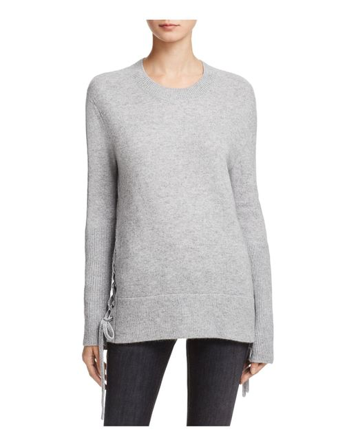 Aqua | Gray Cashmere Side Lace-up Sweater | Lyst