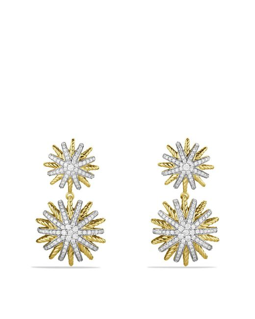 David Yurman | Yellow Starburst Double-drop Earrings With Diamonds In Gold | Lyst