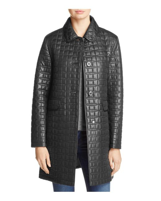 Kate Spade | Black Bow Quilted Coat | Lyst