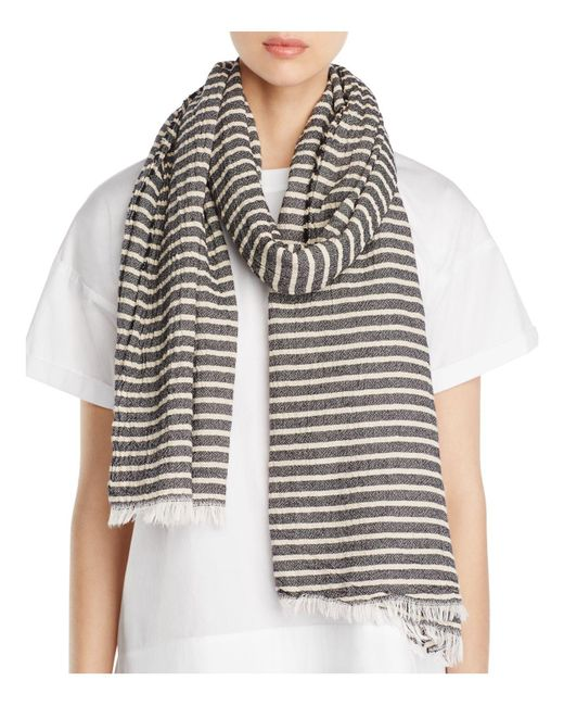 Eileen Fisher | Multicolor Crinkle Cotton Stripe Scarf | Lyst