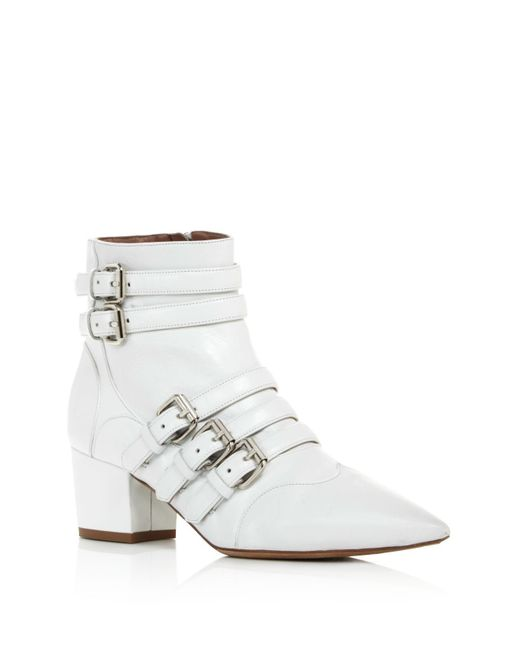 Tabitha Simmons | White Christy Buckled Block Heel Booties | Lyst
