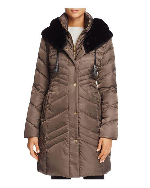 Via Spiga   Brown Faux Fur Trim Pillow Collar Puffer Coat   Lyst