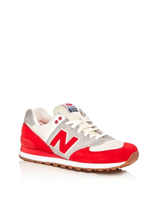 New Balance | Red Men's 574 Retro Lace Up Sneakers for Men | Lyst