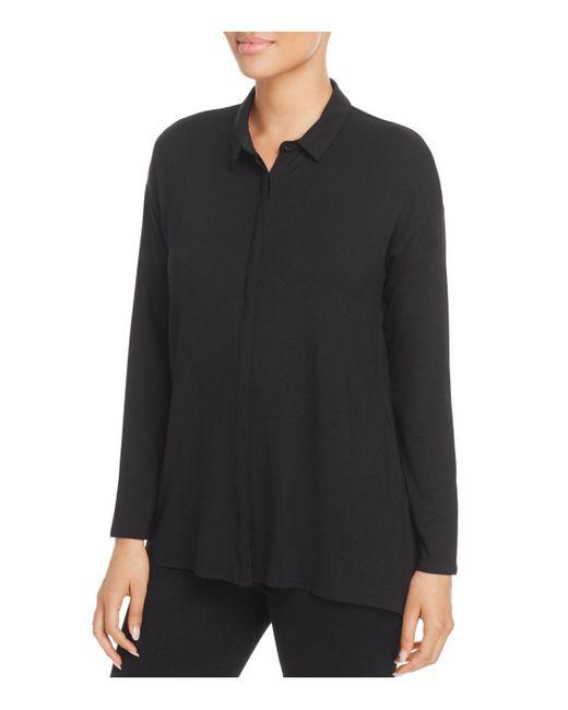 Eileen Fisher | Black Knit Button-down Top | Lyst