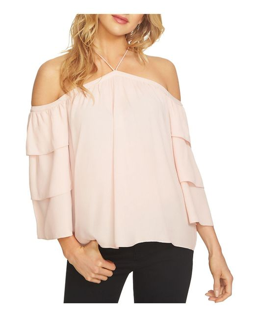 1.STATE | Pink Tiered Cold-shoulder Blouse | Lyst