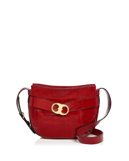 Tory Burch | Red Gemini Link Patent Leather Crossbody | Lyst