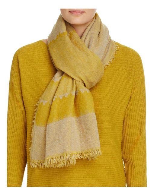 Eileen Fisher | Yellow Stripe Wool Scarf | Lyst