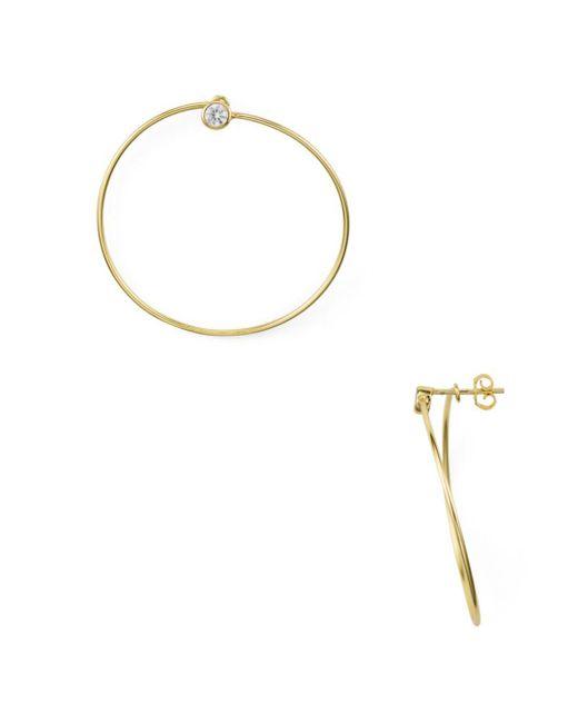 Aqua - Metallic Pavé Frontal Hoop Earrings In 18k Gold-plated Sterling Silver - Lyst