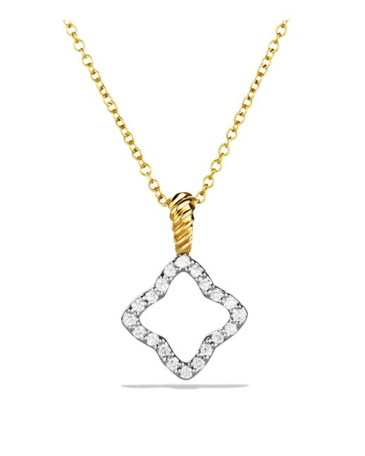 David Yurman - Metallic Cable Collectibles Quatrefoil Pendant With Diamonds In Gold On Chain - Lyst