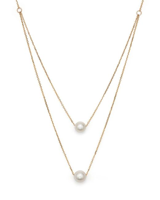 "Bloomingdale's - Metallic Cultured South Sea Pearl Two Row Necklace In 14k Yellow Gold, 17"" - Lyst"