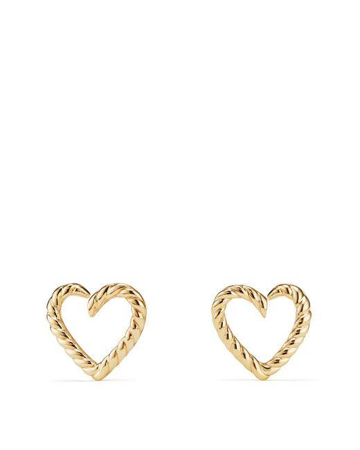 David Yurman - Metallic 18k Gold Cable Heart Earrings - Lyst