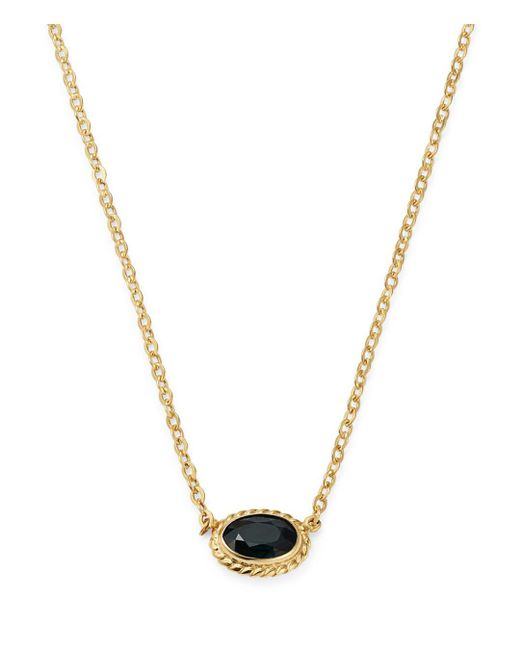 Bloomingdale's - Metallic Blue Sapphire Oval Pendant Necklace In 14k Yellow Gold - Lyst