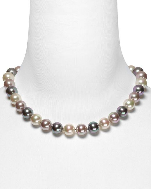 """Majorica   Gray Multi Simulated Pearl Necklace, 17""""   Lyst"""