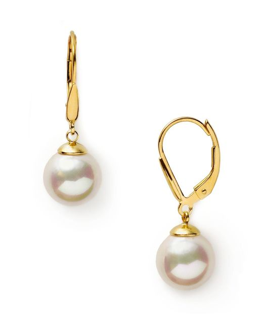 Majorica | 10mm White Simulated Pearl Drop Eurowire Earrings | Lyst