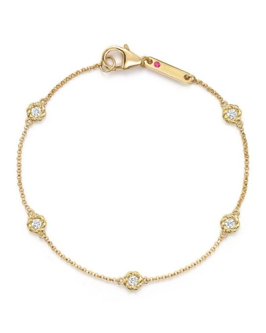 Roberto Coin - Metallic 18k Yellow Gold Barocco Round Diamond Bracelet - Lyst