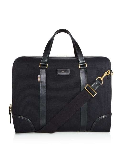 Paul Smith | Black Canvas And Leather Detail Briefcase | Lyst