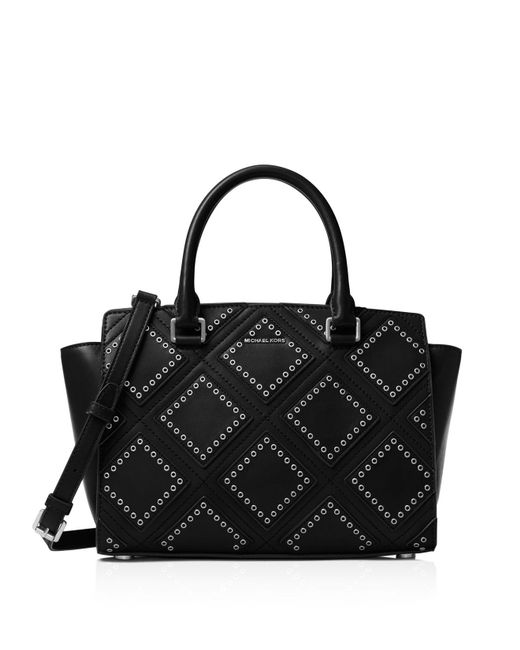 MICHAEL Michael Kors | Black Medium Selma Grommet Top Zip Satchel | Lyst