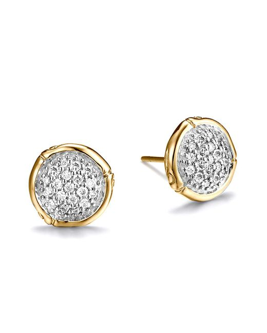 John Hardy - Metallic Bamboo Diamond & 18k Gold Stud Earrings - Lyst