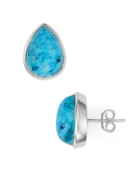Argento Vivo - Blue Faceted Teardrop Stud Earrings - Lyst