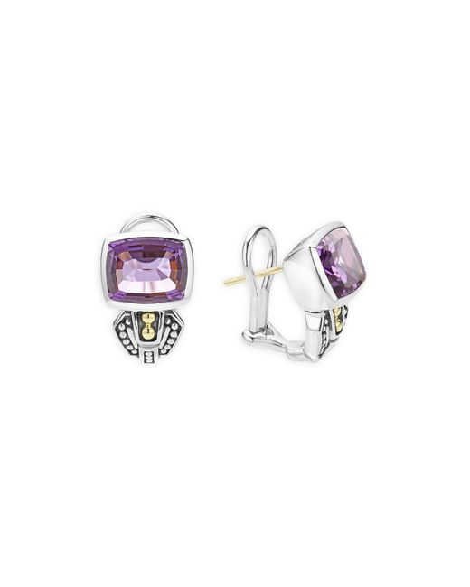 Lagos | Metallic 18k Gold And Sterling Silver Caviar Color Stud Huggie Drop Earrings With Amethyst | Lyst