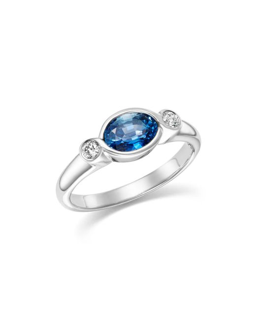 Bloomingdale's - Multicolor Blue Sapphire & Diamond Bezel Ring In 14k White Gold - Lyst