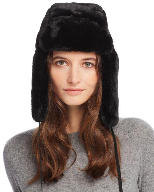 Echo - Black Suede-tie Faux Fur Trapper Hat - Lyst