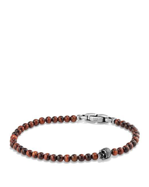 David Yurman - Brown Spiritual Beads Skull Bracelet With Red Tiger's Eye In Sterling Silver for Men - Lyst