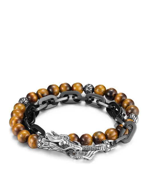 John Hardy - Multicolor Men's Naga Double Wrap Link Bracelet With Tiger's Eye for Men - Lyst