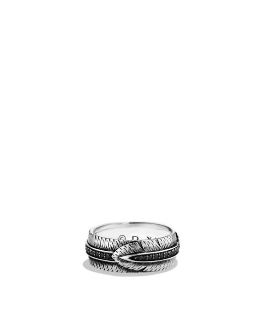 David Yurman - Frontier Band Ring With Black Diamonds - Lyst
