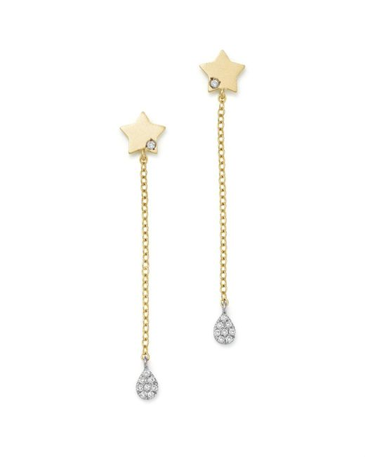 Meira T - 14k White And Yellow Gold Diamond Star Drop Earrings - Lyst