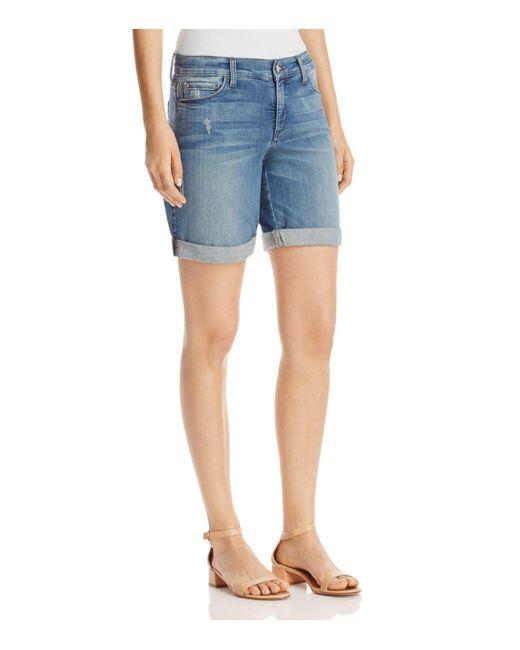 NYDJ | Blue Jessica Boyfriend Shorts In Paloma | Lyst