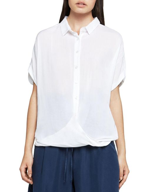 BCBGeneration - White Solid Button-down Front-tuck Shirt - Lyst