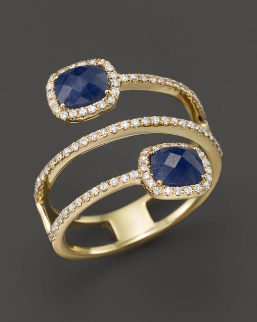 Meira T - Multicolor 14k Yellow Gold Blue Sapphire Triple Row Ring With Diamonds - Lyst