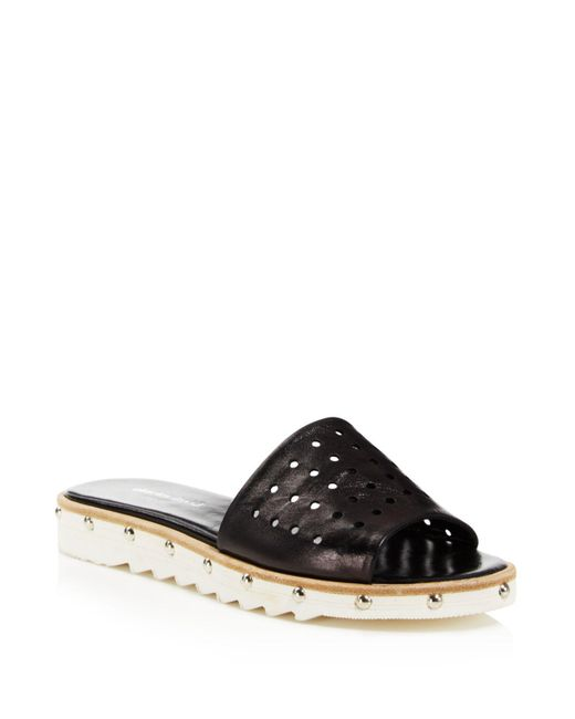 Charles David | Black Space Perforated Studded Slide Sandals | Lyst