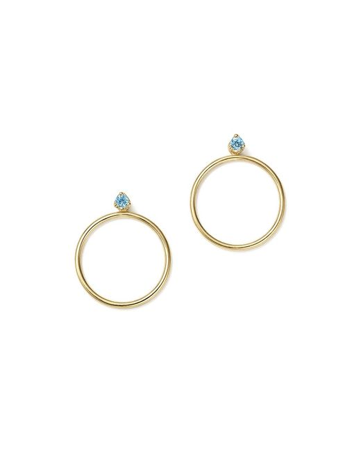 Zoe Chicco | Blue 14k Yellow Gold Hoop Earring Jackets With Aquamarine | Lyst