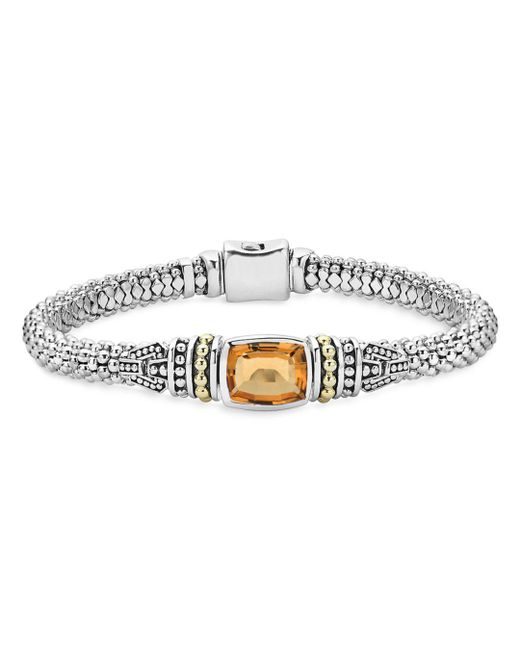 Lagos - Metallic 18k Gold And Sterling Silver Caviar Color Bracelet With Citrine - Lyst