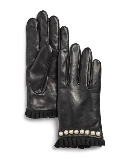 Echo - Black Embellished Pleated-trim Leather Gloves - Lyst