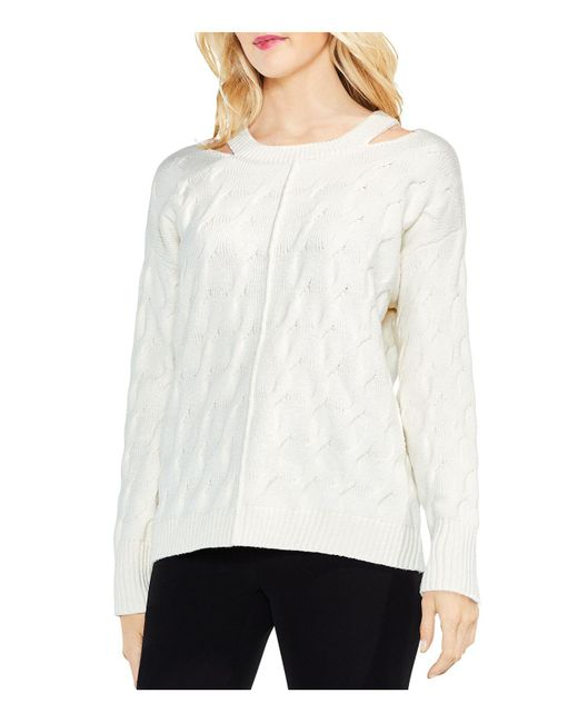 Vince Camuto - White Cutout Cable Sweater - Lyst