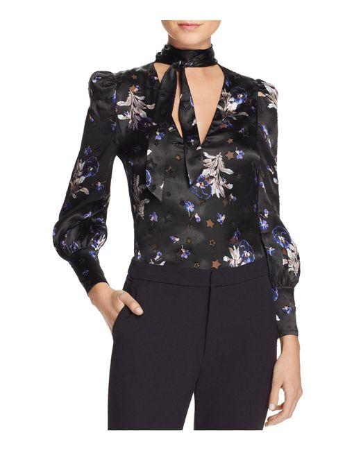Rebecca Taylor   Black Violet Tie-neck Silk Blouse   Lyst