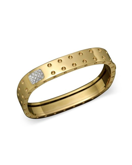 Roberto Coin | Metallic 18k Yellow Gold Pois Moi Double Row Diamond Bangle | Lyst