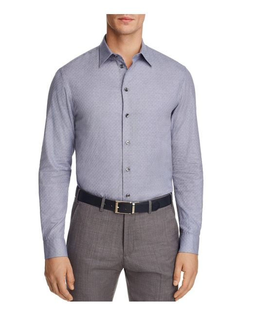 Lyst Armani Contrast Pattern Check Classic Fit Button